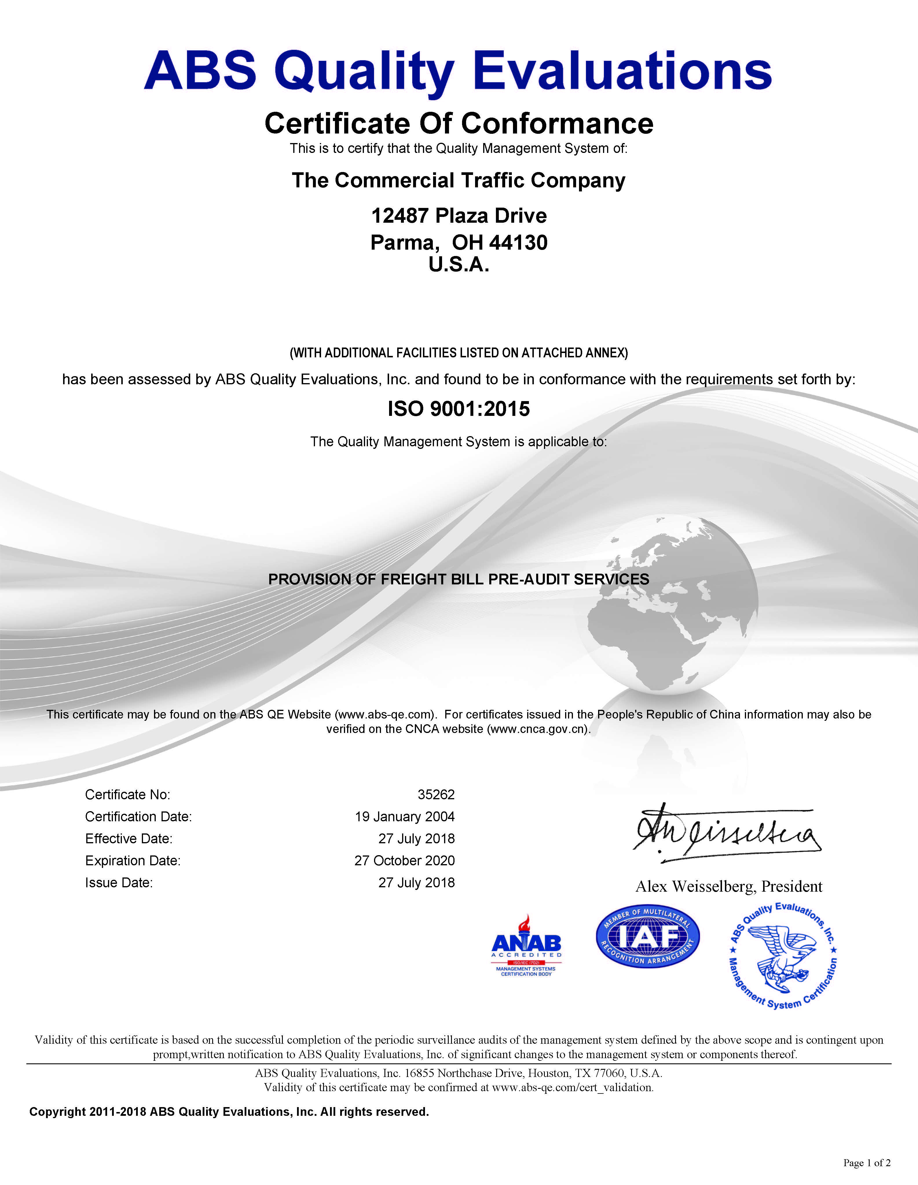 CT Logistics Iso 9001 2015